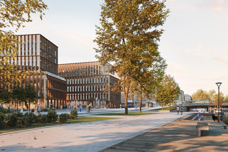 Verslo centro Naujoji uosto g. 3, Klaipėdoje architektūrinio konkurso vizualizacija.<br>Vizual.