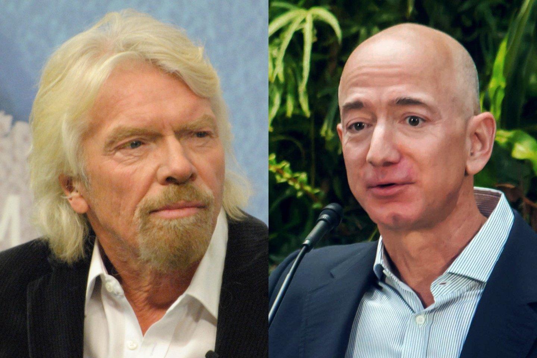 Jei viskas įvyks kaip planuota, R.Bransonas (kairėje) kosmose pabuvos anksčiau už konkurentą, milijardierių J.Bezosą.<br>Wikimedia commons / lrytas.lt mont.