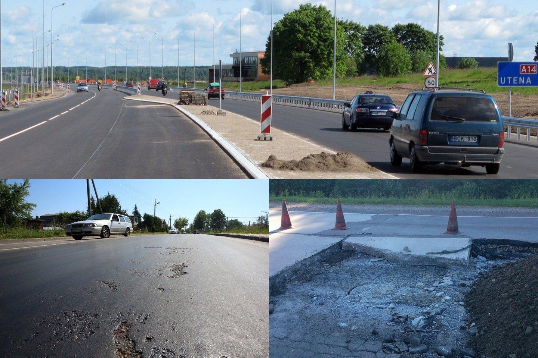 Kelias į Molėtus – vienas baisiausių šalyje dėl jo kokybės.<br>Lrytas.lt fotomontažas.