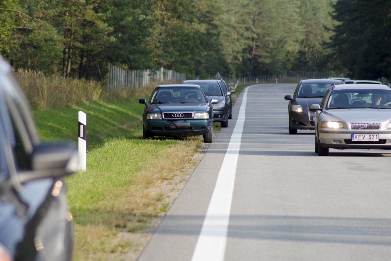 Atkreipia dėmesį į neteisėtą ir pavojingą eismo saugumui veiklą – prekybą miško, sodo, daržo gėrybėmis pakelėse.<br>V.Ščiavinsko nuotr.