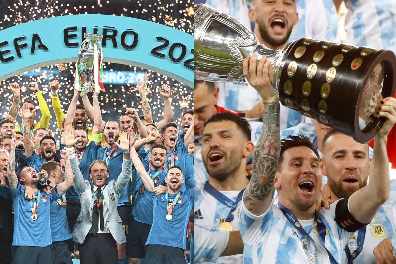 Pietų Amerikos futbolo federacija pasiūlė rengti pasaulio futbolo supertaurės dvikovą.<br>AFP/AP nuotr. koliažas.