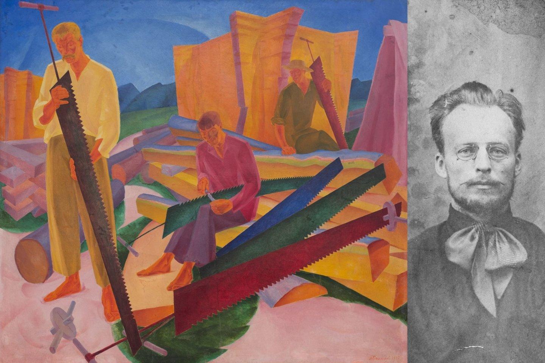 """Oleksandras Bohomazovas ir populiariausias jo paveikslas """"Pjūklo galandimas"""", 1927 m..<br>UNDM nuotr."""