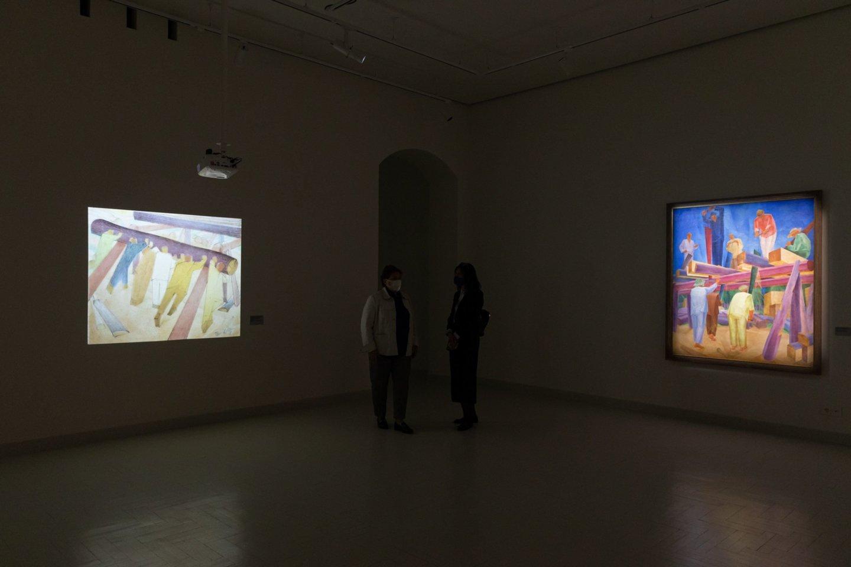 """Kiti du Oleksandro Bohomazovo """"Pjovėjų"""" ciklo paveikslai. Paskutinysis – muziejinė rekonstrukcija pagal dailininko eskizą.<br>G .Grigėnaitės, LNDM nuotr."""