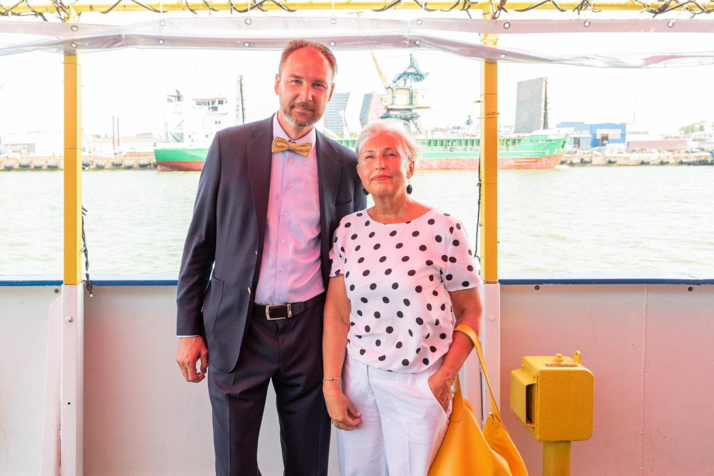 Lietuvos laivų savininkų asociacijos vykdomasis direktorius Gintautas Kutka ir Jūrų muziejaus vadovė Olga Žalienė.<br>A.Kubaičio nuotr.