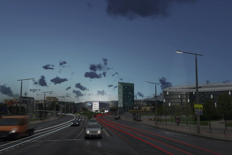 """Saltoniškėse, greta """"Viados"""" degalinės ir """"Hanner"""" verslo centro dar vadinamu """"pieštuku"""", prasidėjo nenaudojamo administracinio pastato griovimas.<br>Vizual."""