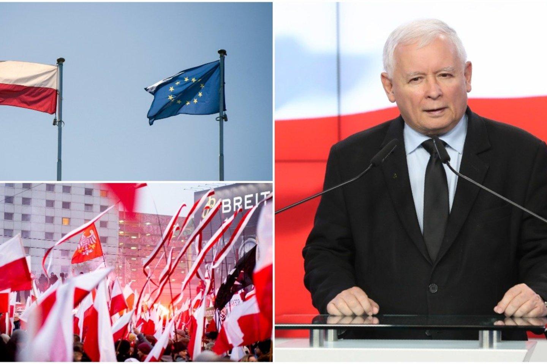Šis ginčas gali užtraukti Lenkijai finansinių nuobaudų ir išprovokuoti pavojingą politinį susiskaldymą ES.<br>Lrytas.lt koliažas.