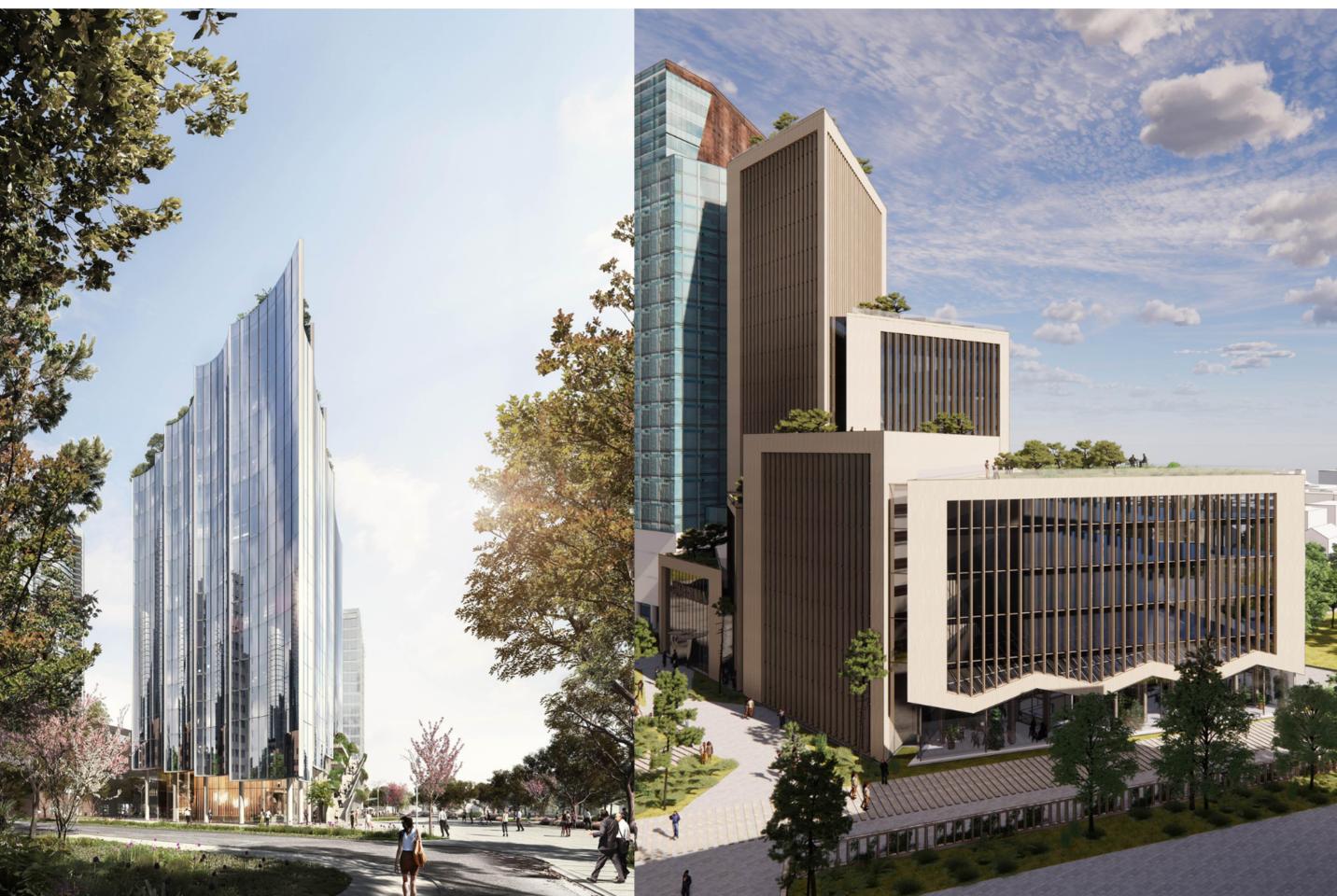 """""""Eastnine Lithuania"""" architektūros konkursui Vilniaus biurų komplekso """"3 Burės"""" plėtrai pasiūlymus pateikė du žinomi užsienio architektų biurai.<br>Vizual."""