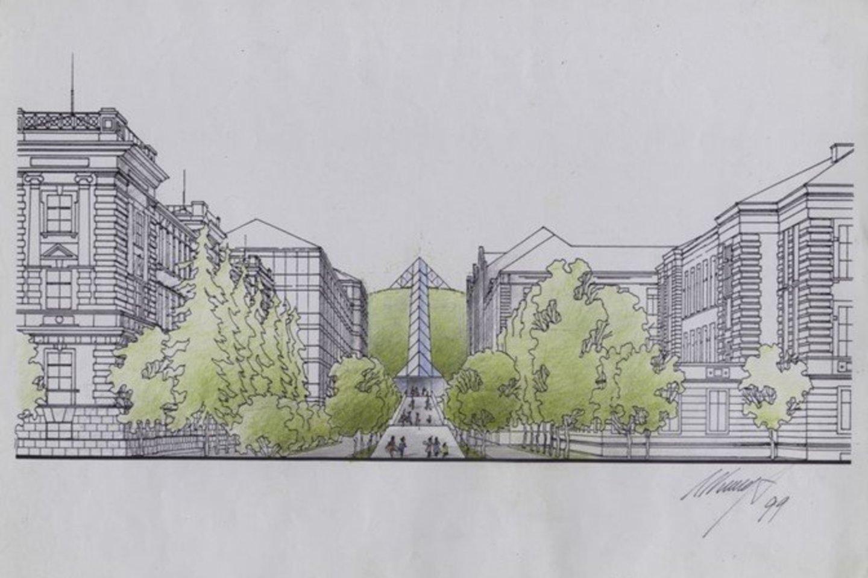Nacionalinio kultūros centro komplekso Tautos namai Vilniuje projektinis pasiūlymas, Algimantas Nasvytis, 1999, saugoma LNM.