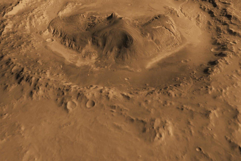 Geilo krateris, žiūrint iš šiaurės.<br>NASA nuotr.