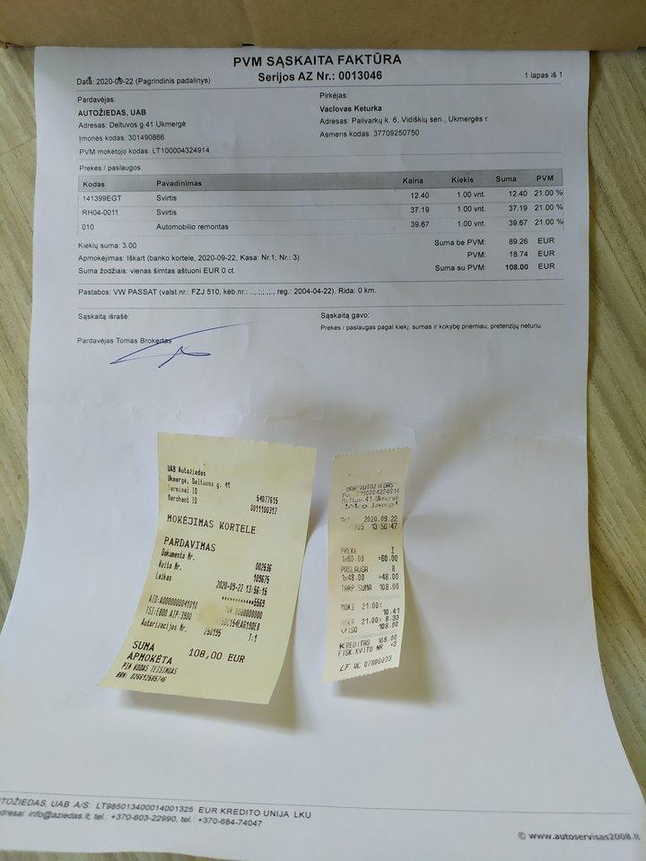 219 eurų – tiek pinigų išleido Ukmergės gyventojas autoservise vien dėl to, kad techninės apžiūros atstovai nesugebėjo pateikti detalios informacijos.<br>lrytas.lt skaitytojo nuotr.