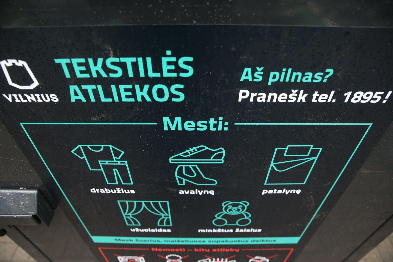 Tekstilės konteineris.<br>R.Danisevičiaus nuotr.