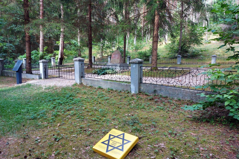 Holokausto kapai, senosios kapinės, Sinagogos gatvė – Įvairiose Anykščių vietose geltonai pažymėtos stotelės paženklino miesto žydų bendruomenės sunaikinimą.<br>T.Kontrimavičiaus nuotr.