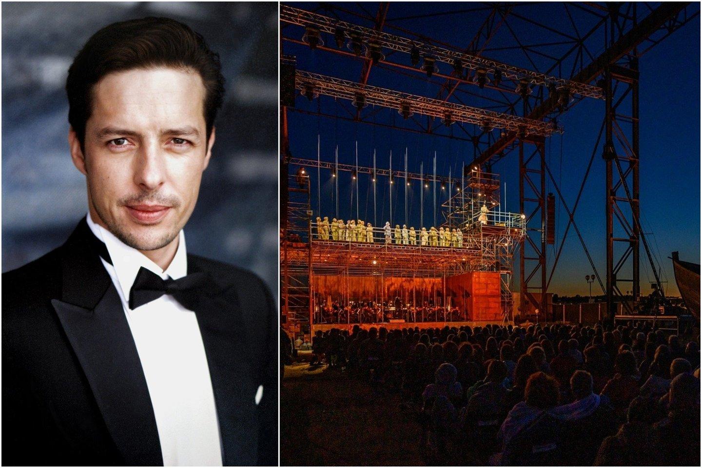 R.Mačanovskis nekantriai laukia pasirodymo klaipėdiečių spektaklyje.<br>Lrytas.lt koliažas.