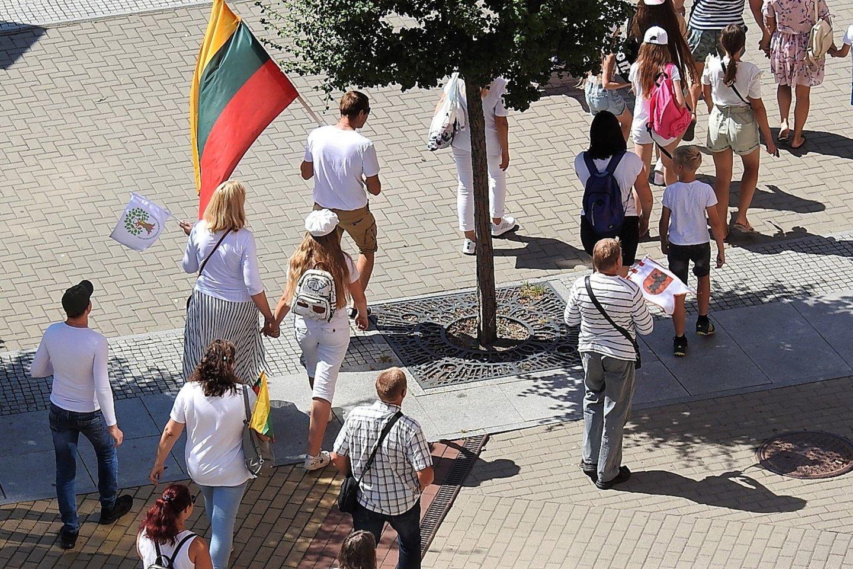 Prieš vakcinavimą nusiteikę asmenys per Jūros šventę iškurnėjo į gatves.<br>G.Pilaičio nuotr.
