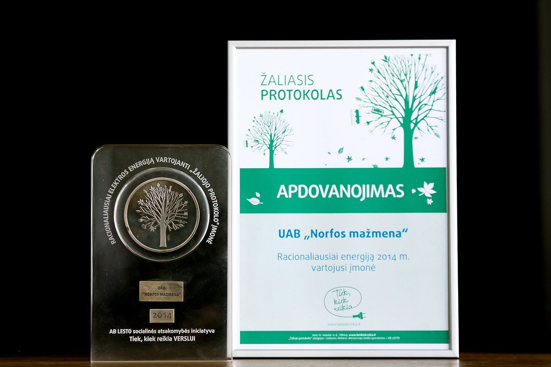 """2014 metais """"Norfos mažmena"""" gavo Žaliojo protokolo apdovanojimą."""