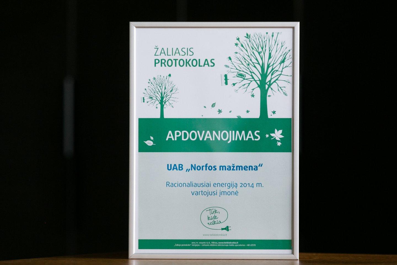 """2014 metais """"Norfos mažmena"""" gavo Žaliojo protokolo apdovanojimą.<br>T.Bauro nuotr."""