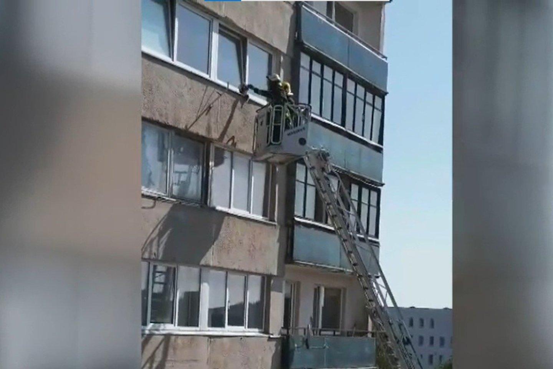 Sekmadienį ugniagesiai Vilniuje skubėjo gelbėti į nelaimę patekusį katinėlį.