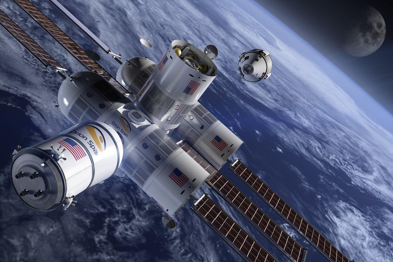 """Prieš trejus metus aviacijos ir kosmoso kompanija """"Orion Span"""" pranešė, kad 2022-aisiais metais planuoja į kosmosą paleisti pirmą viešbutį""""Aurora Station"""".<br>""""Orion Span"""" iliustr."""