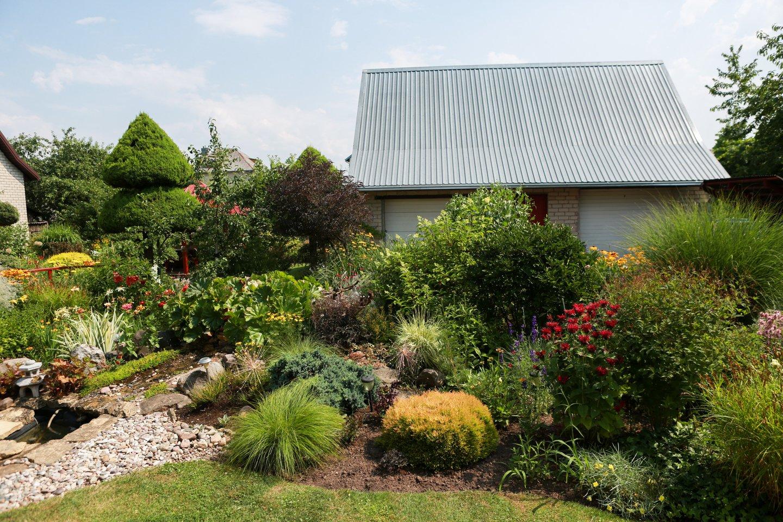 Sodybos šeimininkei patinka japoniškas stilius. Savo kieme ji iš akmenų bei daugiamečių augalų sukūrė panašų sodą.<br>G.Bitvinsko nuotr.