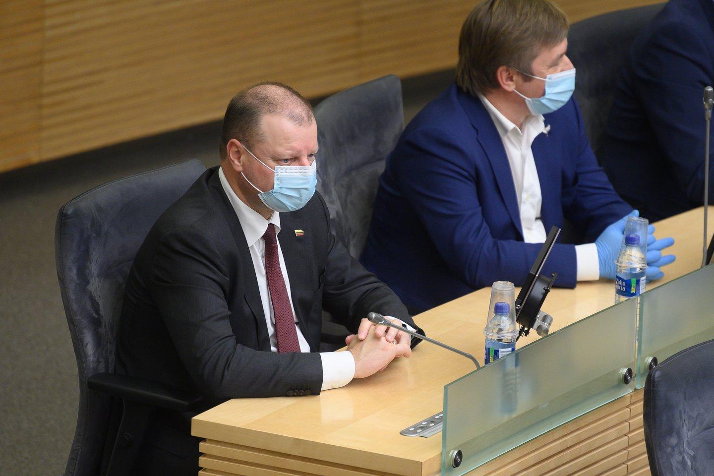 Saulius Skvernelis ir Ramūnas Karbauskis.<br>V.Skaraičio nuotr.