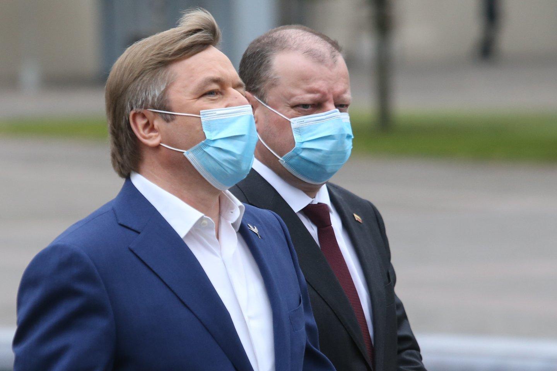 Saulius Skvernelis ir Ramūnas Karbauskis.<br>R.Danisevičiaus nuotr.