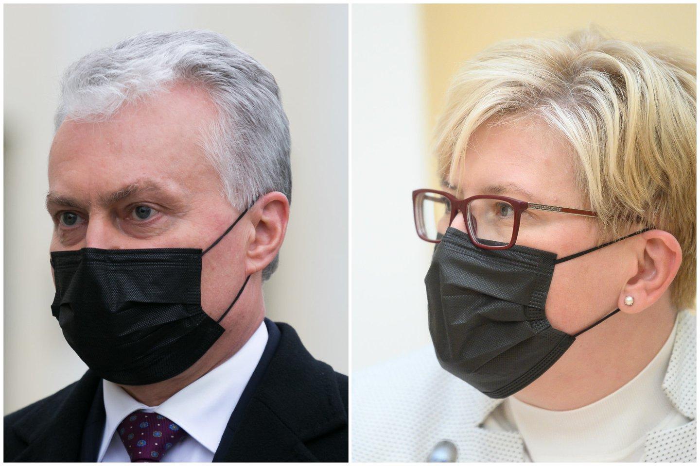 Po beveik trijų mėnesių pertraukos – darbinis G. Nausėdos ir I. Šimonytės susitikimas.<br>Lrytas.lt koliažas