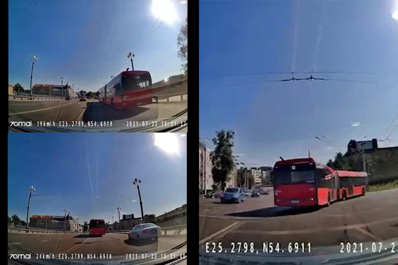 Vaizdo įraše matyti, kaip sostinės viešojo transporto vairuotojas važiuodamas ant Žaliojo tilto pažeidžia Kelių eismo taisykles<br>lrytas.lt fotomontažas