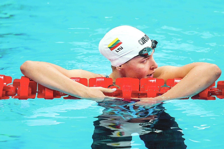 Jauniausia delegacijos narė K.Teterevkova plaukimo 100 m krūtine rungtyje pateko į pusfinalį.<br>V.Dranginio/LTOK nuotr.
