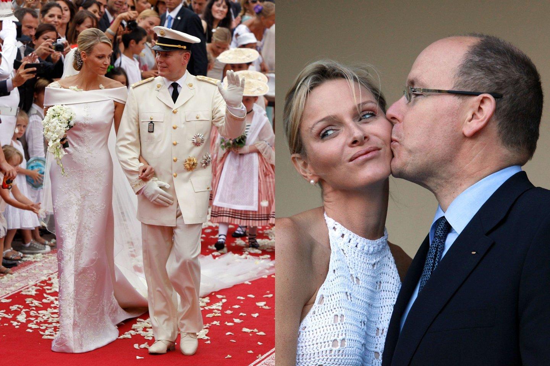 Monako kunigaikštienė Charlene su sutuoktiniu kunigaikščiu Albert'u II.<br>lrytas.lt montažas.