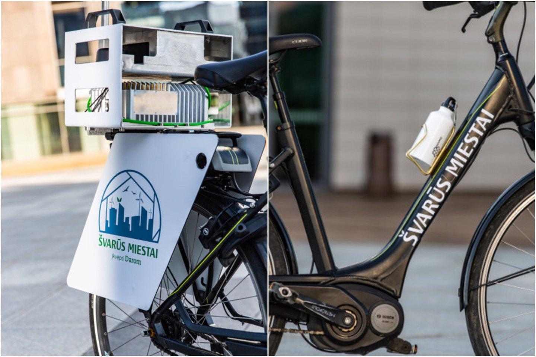 """Savanorių-dviratininkų komanda išmaniuoju dviračiu, matuojančiu miesto gatvių švaros indeksą, važinės Kauno mieste.<br>""""Mes Darom"""" nuotr."""