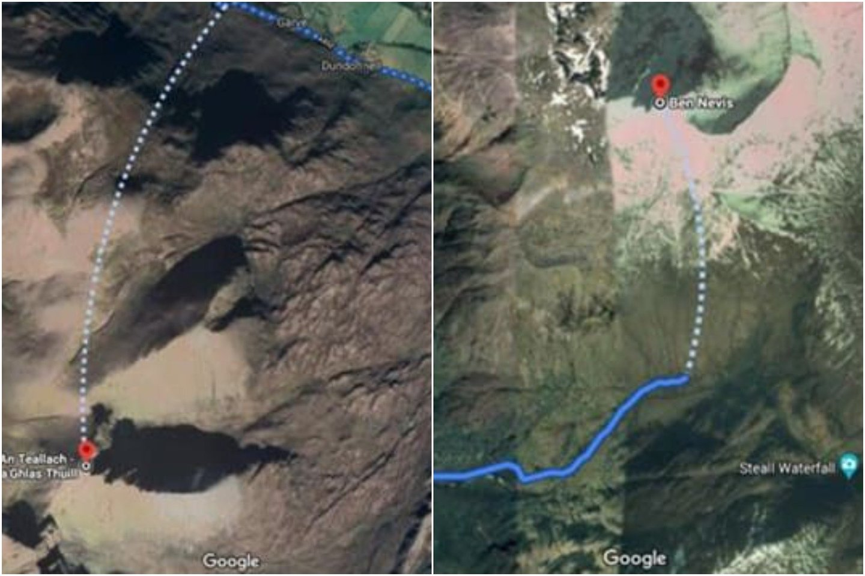 """Google Maps"" siūlomi maršrutai įAn Teallacho ir Ben Neviso viršūnes.<br>""Google Maps"" žem."