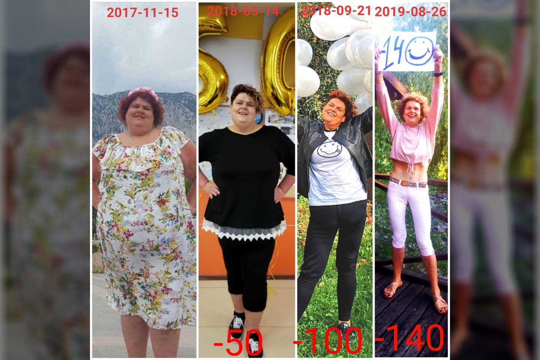 Moters pokyčiai per dvejus metus. Tarp pirmos ir paskutinės nuotraukos – 140 kg skirtumas!<br>Asmeninio archyvo nuotr.