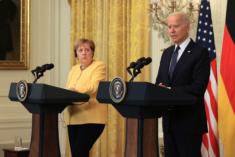 J.Bideno ir A.Merkel susitikimas Baltuosiuose rūmuose.<br>AFP/Scanpix nuotr.