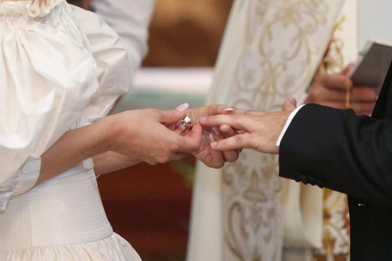 Vestuvių akimirka.<br>R.Danisevičiaus nuotr.