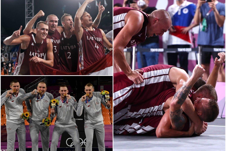 Latvijos rinktinė tapo 3x3 olimpine čempione.<br>lrytas.lt koliažas