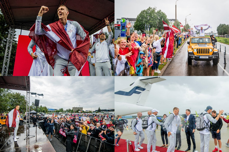 Olimpiniai čempionai buvo sutikti Rygoje.<br>Latvijos krepšinio federacijos nuotr.