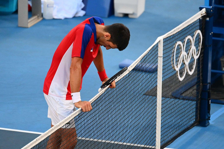 Novakas Džokovičius liko be Tokijo medalio.<br>AFP/Scanpix.com nuotr.