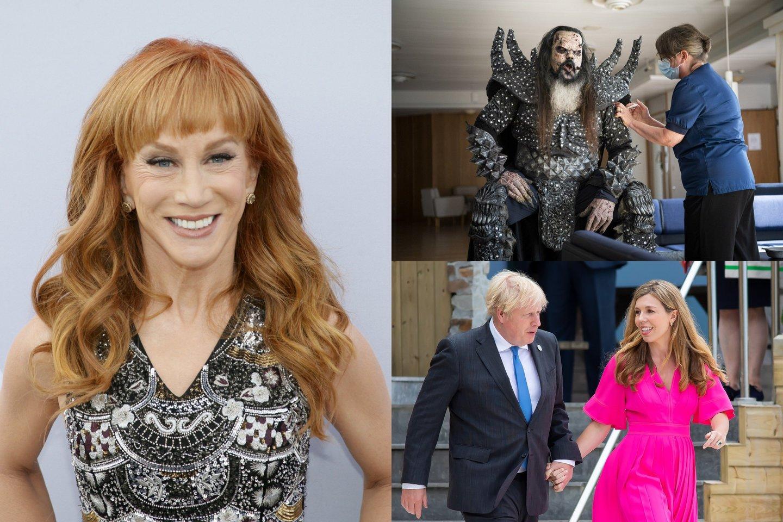 """JAV komikė Kathy Griffin, grupėje """"Lordi"""" dainuojantis Ponas Lordi, Jungtinės Karalystės premjeras Borisas Johnsonas su žmona Carrie.<br>lrytas.lt montažas."""