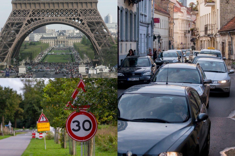 Prancūzijos sostinė priėmė netikėtą sprendimą – sumažinti greitį iki 30 km/val. Tuo tarpu Lietuvoje siaurinamos gatvės, kad vairuotojai neturėtų, kur įsibėgėti.<br>lrytas.lt fotomontažas