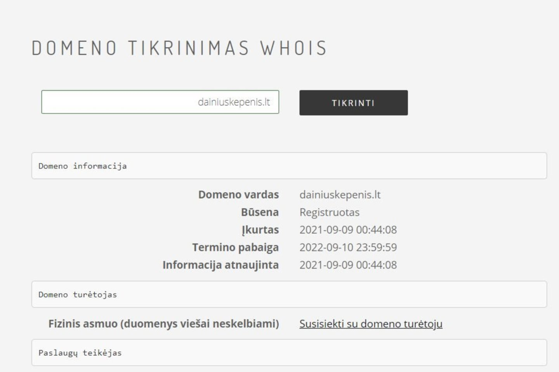 Svetainės registracijos duomenys, skelbiami Lietuvos adresų srities registravimo svetainėje.