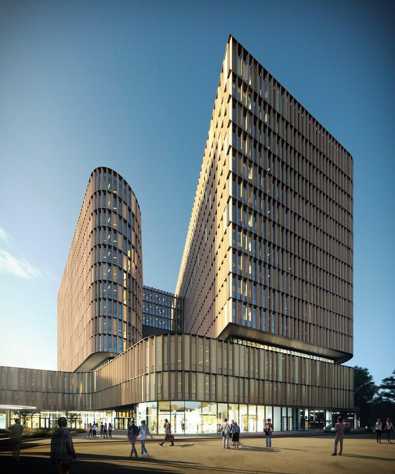"""Vilniaus miesto savivaldybė pritarė sostinės Lvovo gatvėje planuojamo statyti verslo centro """"Hero"""" projektiniams pasiūlymams.<br>Vizual."""