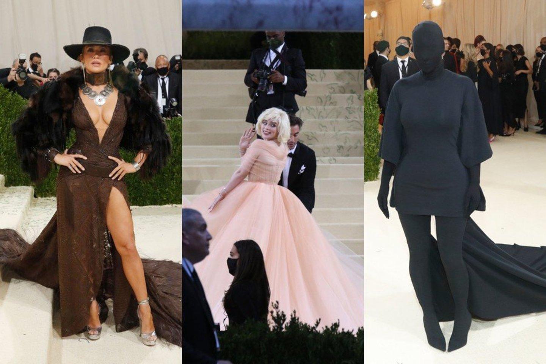 Iš kairės: Jennifer Lopez, Billie Eilish, Kim Kardashian.<br>Scanpix nuotr.