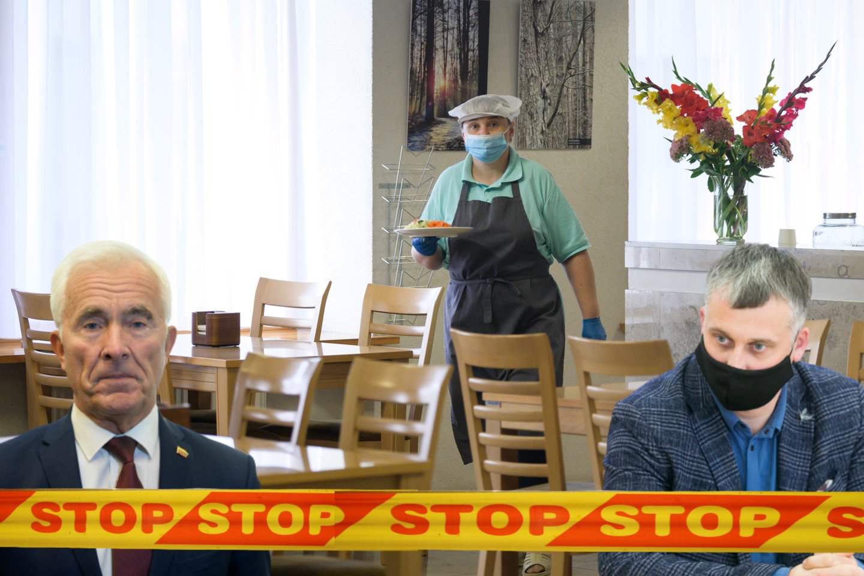 Prie Seimo restorano pradėjus tikrinti galimybių pasus apgręžti buvo ir D.Kepenis, ir V.Ąžuolas.<br>lrytas.lt montažas.