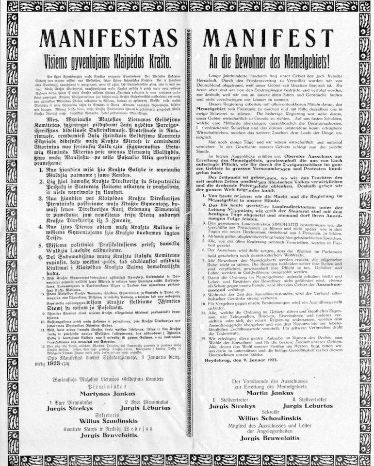 Daugelis Klaipėdos krašto gyventojų 1923 metų Lietuvos žingsnį vadino aneksija, bet nedidelė prolietuviškai nusiteikusi jų dalis tada matė galimybę apsaugoti Prūsų Lietuvos palikimą nuo negailestingos germanizavimo politikos. Apie tai ir skelbia Vyriausiojo Mažosios Lietuvos gelbėjimo komiteto manifestas, pasirašytas 1923 metų sausio 9 dieną Šilutėje.
