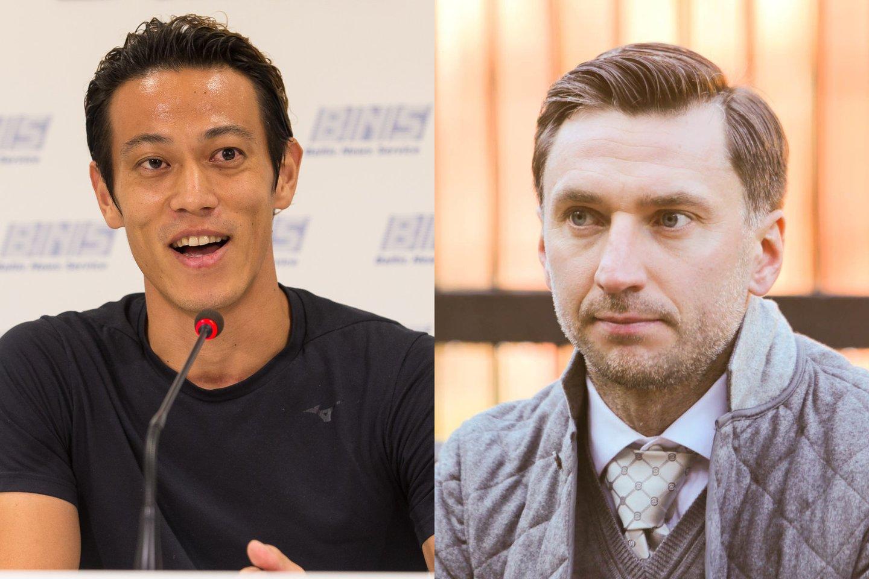 K.Honda (kairėje) prisiminė žaidimą kartu su D.Šemberu.<br>E.Žaldario ir G.Bitvinsko nuotr. koliažas.