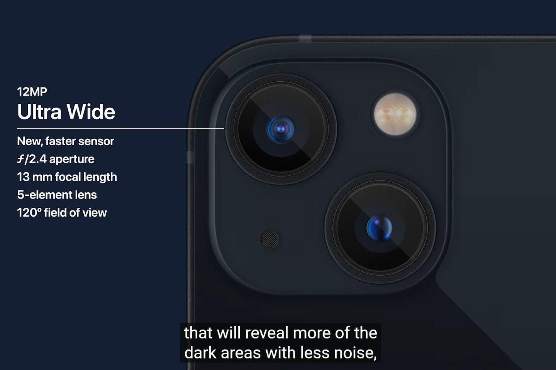 """""""iPhone 13"""" ir """"iPhone 13 Mini"""" kameros.<br>Transliacijos stop-kadras."""