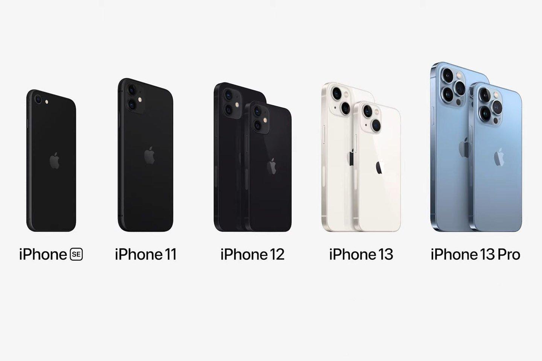 """Paskutinių kelerių metų""""Apple"""" telefonai.<br>Transliacijos stop-kadras."""
