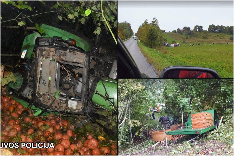 Šakių rajone į griovį įvažiavęs traktorius pražudė juo keliavusį žmogų<br>lrytas.lt koliažas.