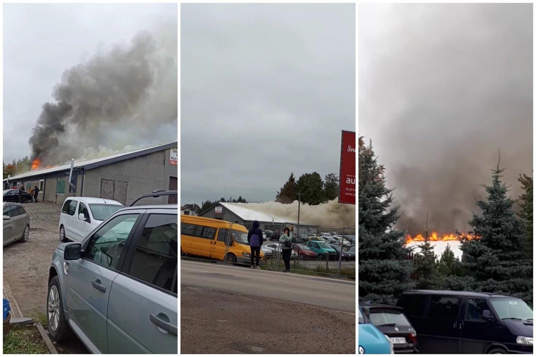 Utenos automobilių turguje užsiliepsnojus angarui į dangų pakilo tirštų juodų dūmų stulpas.<br>lrytas.lt fotomontažas