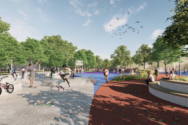 """Sporto parko Ukrainoje koncepciją kūrė urbanistų biuras iš Vilniaus """"PUPA – strateginė urbanistika"""" kartu su partneriais iš Ukrainos """"Big City Lab"""", """"Street Culture"""" ir """"Urban Reform"""", pakvietusiais lietuvius prisijungti prie šio projekto.<br>Vizual."""